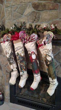NWT set 4 Victorian Santa Toys Tree Catalog Advertising CHRISTMAS STOCKINGS #Ragon