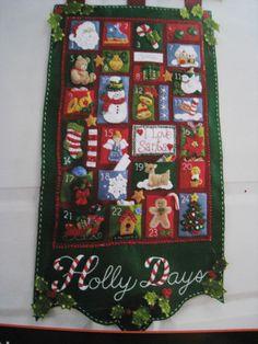 Bucilla Christmas Felt Applique Advent Calendar Kit Holly Days Fill Pockets | eBay