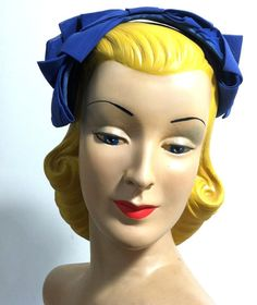 Blue Silk Wide Bow Headband Hat circa 1960s - Dorothea's Closet Vintage