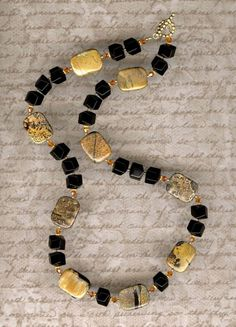 Picture Jasper and Onyx Necklace     -     N821 on Etsy, $43.00
