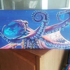 Octopus Drawing, Octopus Painting, Octopus Wall Art, Fish Art, Surfboard Painting, Nautical Art, Ocean Art, Beach Art, Animal Paintings