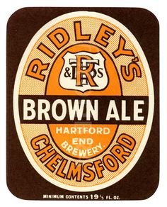 Old beer label Ridley Brown Ale.