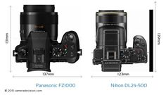Panasonic FZ1000 vs Nikon DL24-500 Camera Size Comparison - Top View