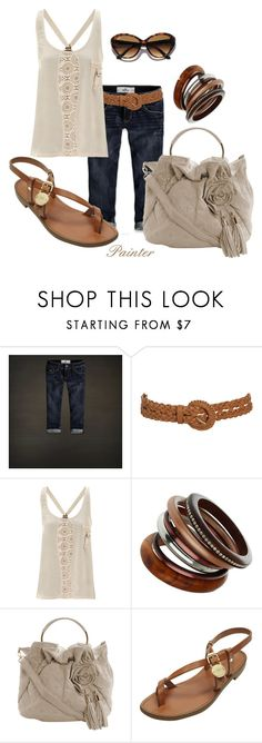 """""""Cream Linen"""" by mels777 ❤ liked on Polyvore featuring Hollister Co., Wet Seal, Jane Norman, Wallis, Dorothy Perkins, Mulberry, Ray-Ban, cropped jeans, sandals and bracelets"""