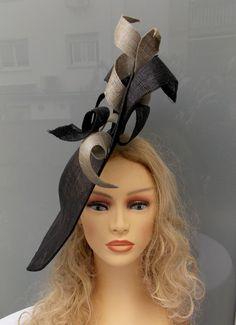Black grey sinamay headdress, Sinamay pamela, Wedding hat, Event hat, Ascot hat, Derby hat, Race hat by LidiaArtThings on Etsy https://www.etsy.com/listing/211452523/black-grey-sinamay-headdress-sinamay