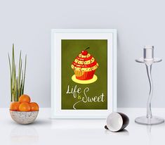 Cupcake poster kitchen word art bakery decor kitchen art