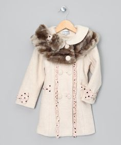 Take a look at this Bijan Kids Ivory & Gray Faux Fur Coat - Girls by Sugar Coated Outerwear Collection on #zulily today!