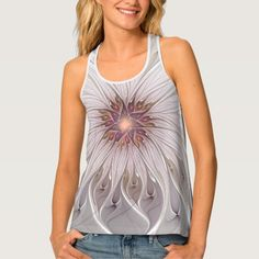 Floral Fantasy Abstract Fractal Art Tank Top