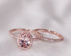 Oval Morganite Diamond Halo Engagement Ring by OliveAvenueJewelry