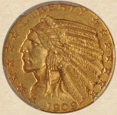 1909-O Gold Five Dollar Indian obverse