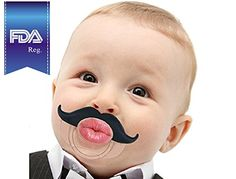 Pacifier with mustache design Cute lips printed on each pacifier Made from FDA approved silicone teether material - • Natural orthodontic shape, scientifically designed to support the shape of babies' developing palates and jaws