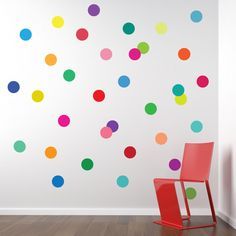 36 Confetti Rainbow of Colors Polka Dot Wall Decals, Removable and Reusable by WallDressedUp on Etsy https://www.etsy.com/listing/159562322/36-confetti-rainbow-of-colors-polka-dot