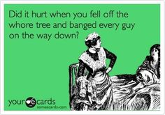 """Did it hurt when you fell off the whore tree and banged every guy on the way down?"" Your eCards"