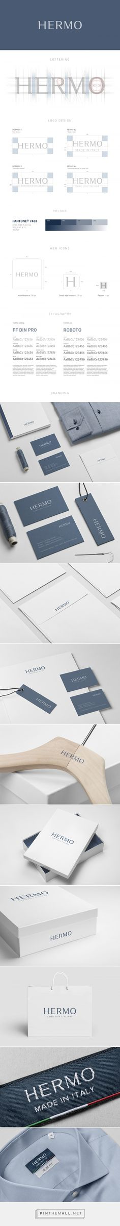 HERMO / Rebrand on Behance.  Founded in 1972, Hermo is an italian shirt manufacturing company, which mainly produces men's shirts with the purpose of creating high-quality men's clothing at a competitive price, with a particular focus on custom-fit.  Attention to detail, accuracy and precision in the precious hands of expert tailors are a symbol of the excellence of the Italian craftsmanship.  The brand was redesigned taking into consideration the quality of the product without overlooking…