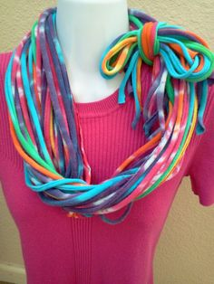 Bright Tie Dyed T Shirt Necklace Jersey Scarf by LonestarFashions, $14.00