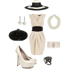 Nice Nice Dress Shoes Monochrome outfit with pearls, suitable for ladies day at Royal Ascot. Race Day Outfits, Derby Outfits, Royal Ascot Ladies Day, Melbourne Cup Fashion, Tea Party Outfits, Race Day Fashion, Kentucky Derby Outfit, Shower Outfits, Derby Dress