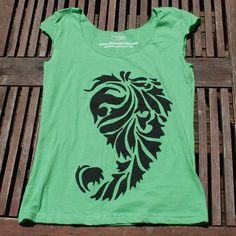 New to kimmchi on Etsy: SALE - Silkscreened Black Paisley on Green Scoop neck Shirt - XL only (14.00 USD)