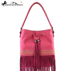 Montana West Tribal Pattern Studded Fringe Genuine Leather Handbag