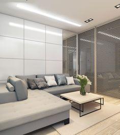 Квартира 42 кв.м для молодой семьи в Мосвке on Behance Condo Living Room, Living Room Decor, Mandir Design, Hall Design, Living Room Designs, Kitchen Decor, Modern Design, House Design, Interior Design