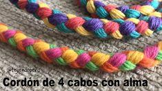 Cordón tejido con 4 cabos paso a paso Diy Bracelets Easy, Bracelet Crafts, Macrame Bracelets, Jewelry Crafts, Knot Bracelets, Survival Bracelets, Macrame Knots, Paracord Bracelets, Micro Macrame