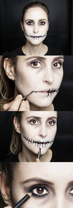 In this step-by-step makeup tutorial of a simple but oh-so effective Halloween look, Cosmo's Online Beauty Editor Bridget shows you (with the help of magic MAC Senior Artist Debbie Finnegan) how to create a stitched mouth effect with hollow eyes and ghostly skin. Follow the tips to nail the look yourself for Fright Night. Happy Halloween!