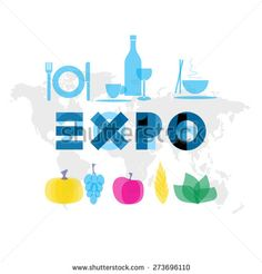 EXPO Milan - universal exhibition with food and drink icons