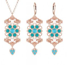 Handmade in USA Pendant and Earrings Jewelry Set by Lucia Costin with Delicate Flowers Turquoise  Green Swarovski Crystals Fancy Elements and Cute Charms 24K Pink Gold Plated over 925 Sterling Silver *** Click on the image for additional details.(This is an Amazon affiliate link and I receive a commission for the sales)