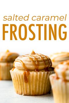5 ingredients and so easy! This new & improved salted caramel frosting is ultra creamy and downright addicting! Carmel Frosting Recipe, Caramel Buttercream Frosting, Icing Recipe, Frosting Recipes, Cupcake Recipes, Cupcake Cakes, Dessert Recipes, Bundt Cakes, Just Desserts