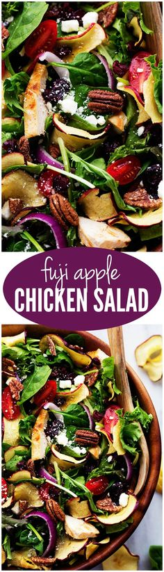 Fresh spring greens get tossed with crisp apples, chicken, tomatoes, dried cranberries, crunchy pecans and feta cheese. This makes one incredible mouthwatering salad!