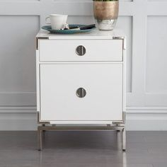 Malone Campaign Bedside Table - White Lacquer - WEST ELM
