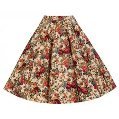 'Peggy' Vintage 1950's Style Beige Floral Full Circle Skirt (105 PEN) ❤ liked on Polyvore featuring skirts, beige, floral print skater skirt, patterned skater skirt, beige skirt, floral print skirt and flared skirt