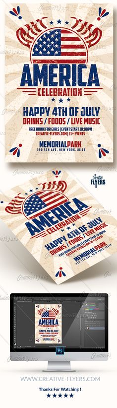 Creative 4th of July Flyer Template to promote your Independence Day Event with these Flyer Psd Photoshop ! #vintage #templates #independenceday #independence #day #flyer #psd #template #4thofjuly #celebration #posters #memorial #creative #graphics