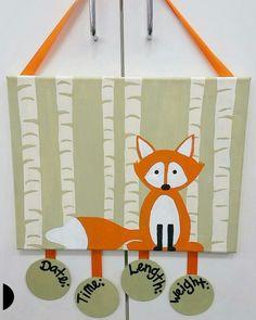 Painted Woodland fox birth announcement door hanger! By: Amanda birtley. 2016
