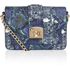 Accessorize Dena Chain Snake Across Body Bag ($54) ❤ liked on Polyvore featuring bags, handbags, shoulder bags, blue crossbody handbag, chain strap shoulder bag, chain crossbody, blue crossbody purse and crossbody chain purse