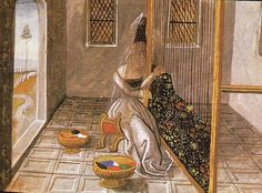 Illustration of a weaver from Christine de Pisan, c1475. There is a lot of artistic licence in this picture but it does show the upright loom and weaving in progress.