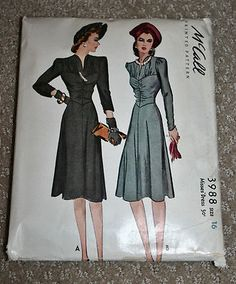 VTG 40s McCall's Sewing Pattern 3988 Ruched Front WW2 Shirred Bodice Dress Sz 16 | eBay