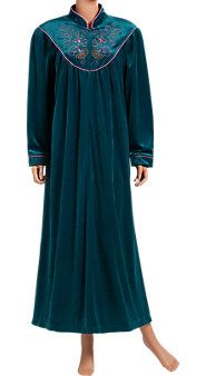 Embroidered velour robe  embroidered with peacock-colored hues.