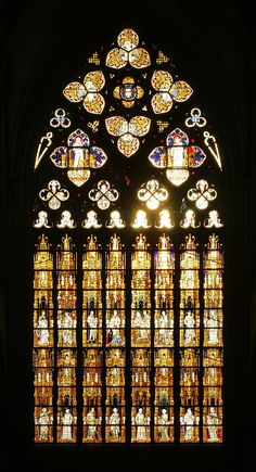 The west window of the Altenberger Dom (Altenberg Cathedral), designed in 1390 and probably completed before 1400, is the largest Gothic church window north of the Alps.