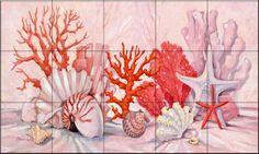 Coral Still Life Border - Tile Mural