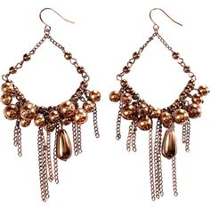 Alexa Starr Chocolate Pearl Chandelier Earrings With Copper Chain... ($15) ❤ liked on Polyvore featuring jewelry, earrings, brown, fashion accessories, brown earrings, pearl jewelry, fringe earrings, brown jewelry and copper earrings