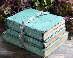 Painted Books Farmhouse Book Stack Distressed Vintage Books This is Us Chalk Painted Aqua Books Altered Books Painted Leaf Garland by SecretTreasuresFound on Etsy Painted Books, Painted Paper, Book Projects, Crafty Projects, Altered Books, Altered Art, Upcycled Crafts, Diy Crafts, Farmhouse Books