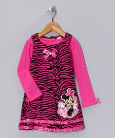 Take a look at this Bright Pink Zebra Minnie Corduroy Jumper & Top - Infant by Minnie's Bow-Tique on #zulily today!