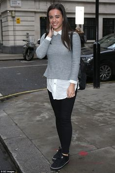 The final countdown: Strictly Come Dancing finalist Georgia May Foote dressed down in a grey sweater and trainers as she started her Wednesday with an early visit to Chris Evans' Radio 2 Breakfast Show Georgia May Foote Instagram, The Final Countdown, Strictly Come Dancing, Chris Evans, Grey Sweater, My Girl, Lace Skirt, Celebrities, Sexy