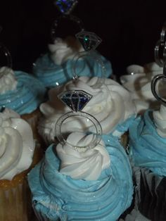 Bridal Shower cupcakes/Blue, White, Silver. YUM!!