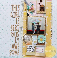 This Girl is Seriously Awesome by Ashley Calder using the Monterey Bay collection from www.cocoadaisy.com #cocoadaisy #kitclub #scrapbooking #layout #stamping #mixedmedia #hiddenjournaling