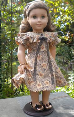 Holiday dress for American Girl or other 18 inch dolls - pattern adapted from Bunny Bear's Fairytail pattern.