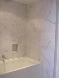 Private Residence Bianco Carrara C Custom Honed Saturnia Light Select Modern Bathroom