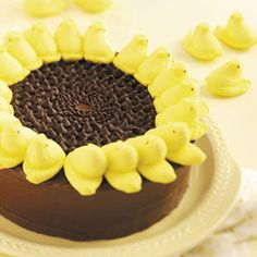 Peeps Sunflower Cake ~ This cake is easy, but looks quite impressive.