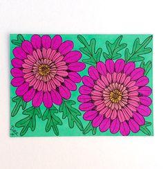 Pink Flower Artist Trading Card ACEO Art Card Design Pink