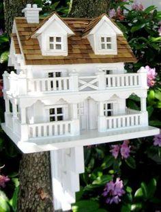 HOME BAZAAR White CAPE COD COTTAGE Birdhouse w/ Wraparound PORCH & Bracket !